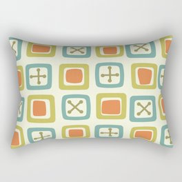 Mid Century Modern Squares Lines Green Orange Blue Rectangular Pillow