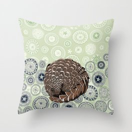 pangolin mandala eden Throw Pillow