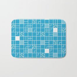Inverted Boxes Blue Pattern Bath Mat