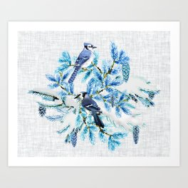 WINTER BLUE JAYS Art Print