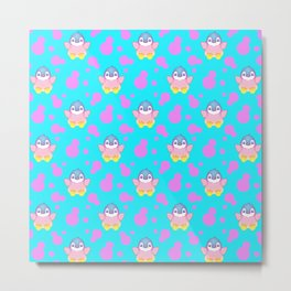 Cute sweet little baby penguins flapping wings, bold pink retro dots pretty blue girly pattern Metal Print