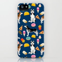 Husky siberian huskies junk food cute dog art sweet treat dogs pet portrait pattern iPhone Case