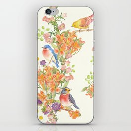 Romantic Vintage Design of Birds & Flowers - Natural colorful iPhone Skin