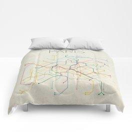 Minimal Paris Subway Map Comforters