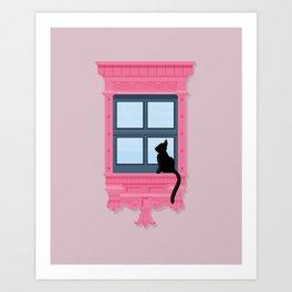 Pink Windowsill Art Print