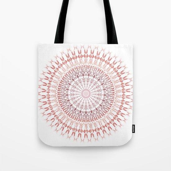 Red Brown White Mandala Tote Bag
