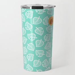 animal crossing villager nook shirt pattern white leaf Travel Mug