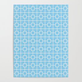 Baby Blue Square Chain Pattern Poster