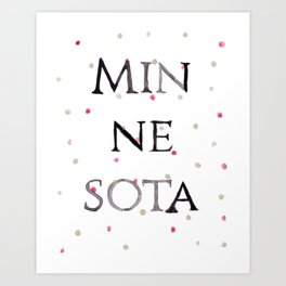 Minnesota Collegiate Print With Gold and Maroon Details Art Print
