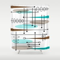 mid century modern Shower Curtains featuring Mid-Century Modern Atomic Inspired by Kippygirl