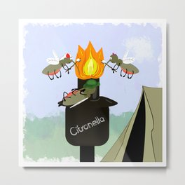 Mosquito Family Camping by Tiki Torch Cartoon Metal Print