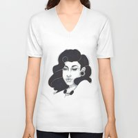 50s V-neck T-shirts featuring 50s girl by Cecil Addams