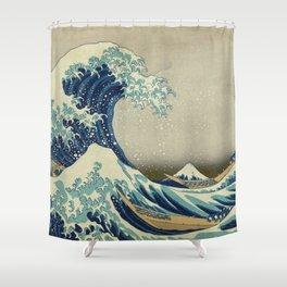 The Classic Japanese Great Wave off Kanagawa Print by Hokusai Shower Curtain