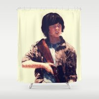 carl sagan Shower Curtains featuring Carl  by ConnorEden