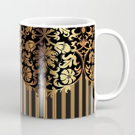Gold and Black Damask and Stripe Design Coffee Mug