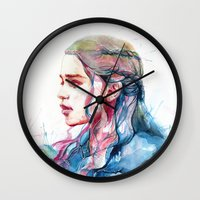 shipping Wall Clocks featuring Dragonqueen by Alice X. Zhang
