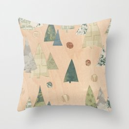 Retro Christmas Light Wood Throw Pillow