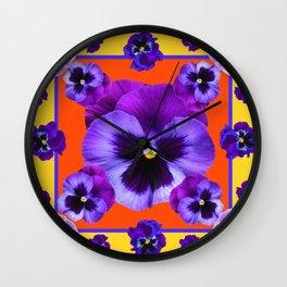 YELLOW-SAFFRON PURPLE PANSIES GARDEN  PATTERN MODERN ART Wall Clock