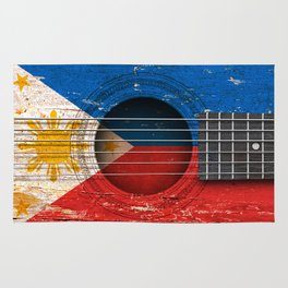 Old Vintage Acoustic Guitar with Filipino Flag Rug