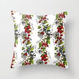 Botanical Fruit Print Throw Pillow