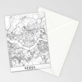 Seoul White Map Stationery Cards