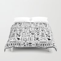 egyptian Duvet Covers featuring Egyptian Pattern by Mad Love