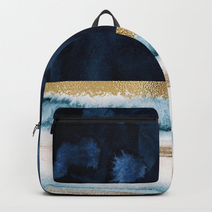 Navy Blue, Gold And White Abstract Watercolor Art Backpack