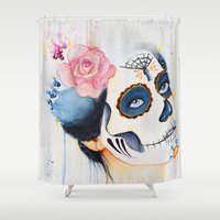 day of the dead Shower Curtains featuring Day of the Dead by Beth Michele