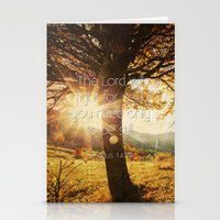 bible verses Stationery Cards featuring Typographic Motivational Bible Verses - Exodus 14:14 by The Wooden Tree