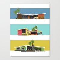 mid century modern Canvas Prints featuring Mid Century Modern Houses 2 by MidPark Prints