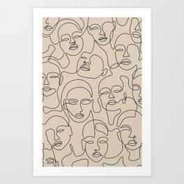 Crowded Girls In Beige Art Print