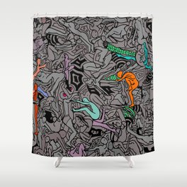 Kamasutra LOVE Doodle - Retro Colors 1 Shower Curtain