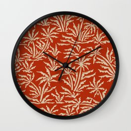 Vintage Tropical Jungle / Rusty Red Wall Clock