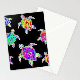 Turtle full color multicolor happy color Tortues multicolores Stationery Cards