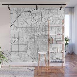 Fort Wayne Map, USA - Black and White Wall Mural