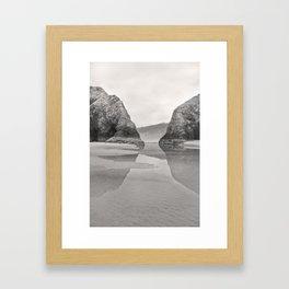 Tidal Pool Cannon Beach Oregon Coast Cave Forest Reflection Rocks Shoreline Nautical Northwest Pacif Framed Art Print