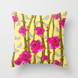 WHITE BUTTERFLIES & CERISE PINK ROSE THORN CANES YELLOW Throw Pillow