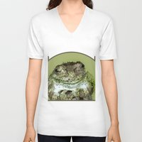 frog V-neck T-shirts featuring Frog by Kathleen Stephens