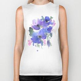 Blue Poppies and Wildflowers Biker Tank