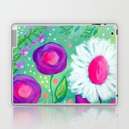 White Flowers, Purple Flowers, Floral Painting for Girl, Nursery Decor, Green, Blue, Coral Art Laptop & iPad Skin