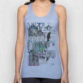 """Woman with Penguins"" Unisex Tank Top"
