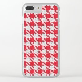 Imperial Red Buffalo Plaid Clear iPhone Case