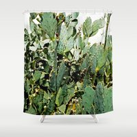 cacti Shower Curtains featuring Cacti by PoseManikin