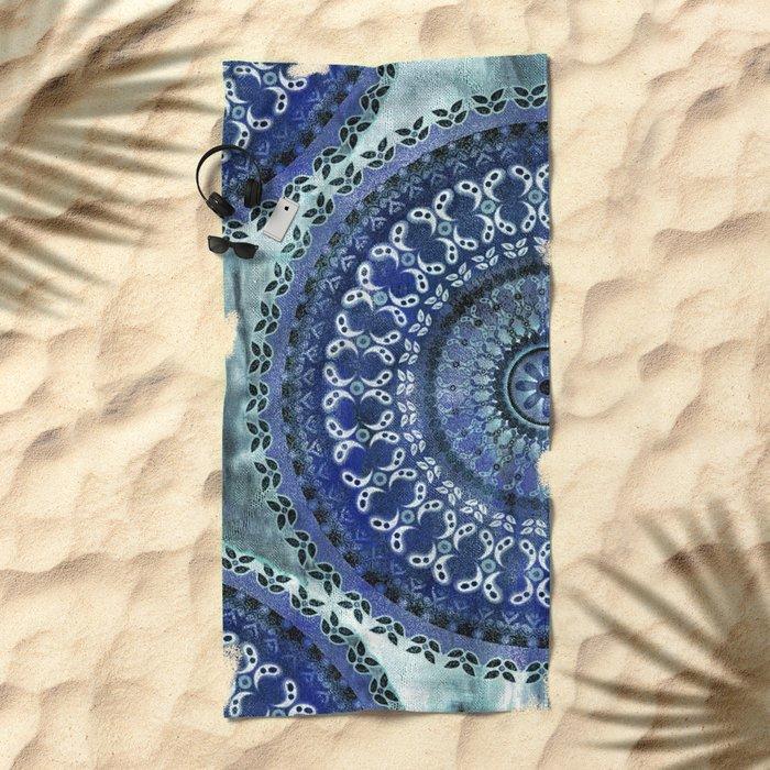Vintage Blue Wash Mandala Beach Towel