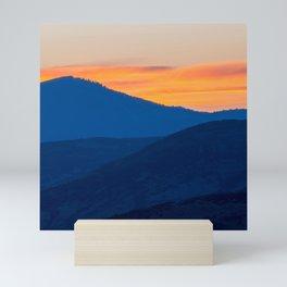 Utah Wasatch Mountains Park City Sunset Landscape Blue Orange Sky Mini Art Print