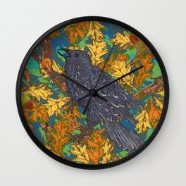 Raven and Oak Wall Clock