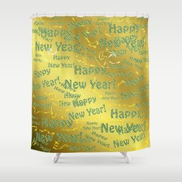 blue Colorful design happy new year text in gold, festive, elegant gift for anyone in the family Shower Curtain