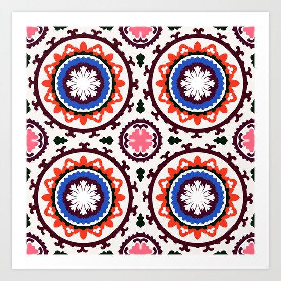 Bold and bright beauty of suzani pattern ver.3 Art Print