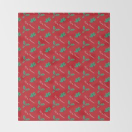Holy Berry Merry Christmas on Red Throw Blanket