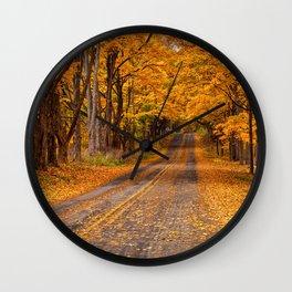 Fall Rural Country Road Wall Clock